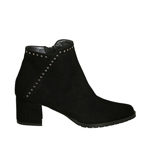 Woman's ankle boot with zipper and studs in black suede heel 5 - Available sizes:  34, 45