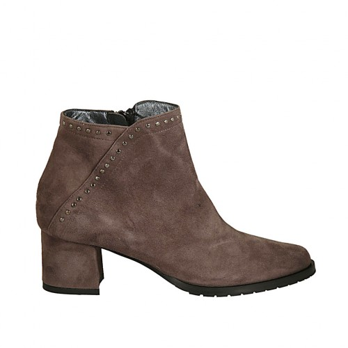 Woman's ankle boot with zipper and studs in taupe suede heel 5 - Available sizes:  32, 33, 34, 43