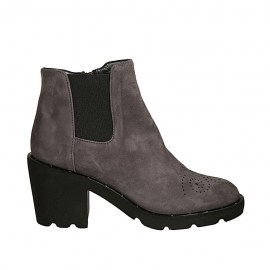 Woman's ankle boot in grey suede with zipper, elastic band and Brogue pattern heel 7 - Available sizes:  33, 34, 43, 45