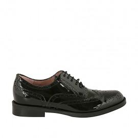 Chaussure richelieu pour femmes à lacets en cuir verni noir avec bout Brogue talon 2 - Pointures disponibles:  32, 33, 43, 44, 45