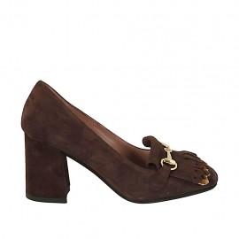 Chaussure fermée pour femmes avec franges et chaîne doré en daim marron talon 7 - Pointures disponibles:  33, 34, 42, 43, 44, 45
