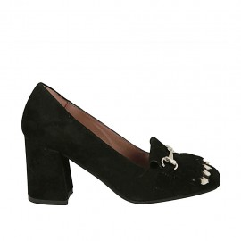 Woman's shoe with fringes and silver chain in black suede heel 7 - Available sizes:  32, 33, 34, 42, 43, 44, 45