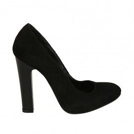 Woman's pump in black suede with inner platform heel 11 - Available sizes:  33, 44, 45