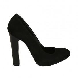 Zapato de salon para mujer en gamuza negra con plataforma interna tacon 11 - Tallas disponibles:  33, 44, 45