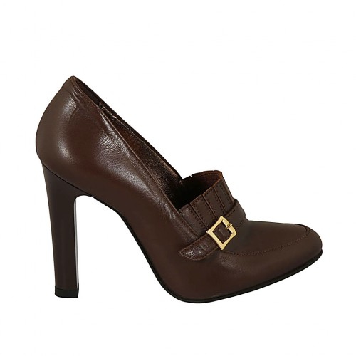 Woman's highfronted shoe with buckle and fringes in brown leather heel 10 - Available sizes:  31, 32, 34, 42, 43, 44, 45, 46