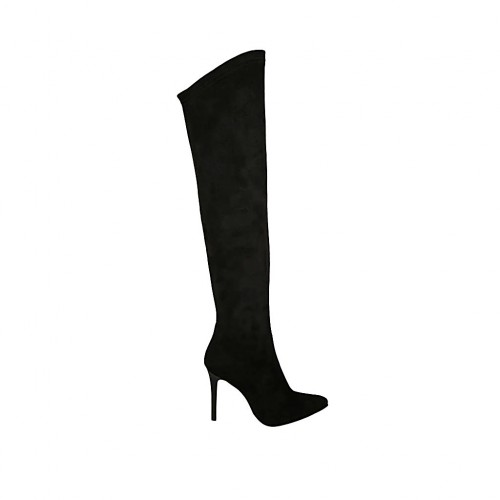 Woman's boot in black suede and elastic material heel 9 - Available sizes:  33