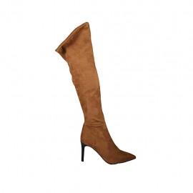 Stivale al ginocchio da donna in camoscio elasticizzato beige con laccio e cerniera tacco 8 - Misure disponibili: 32, 33, 42, 43, 45