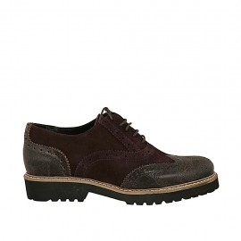 Woman's highfronted laced Oxford shoe in brown leather and suede heel 3 - Available sizes:  33, 34, 42, 43, 44, 45