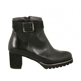 Woman's ankle boot with buckle and zipper in black leather and printed suede heel 6 - Available sizes:  33, 42, 43, 44, 45
