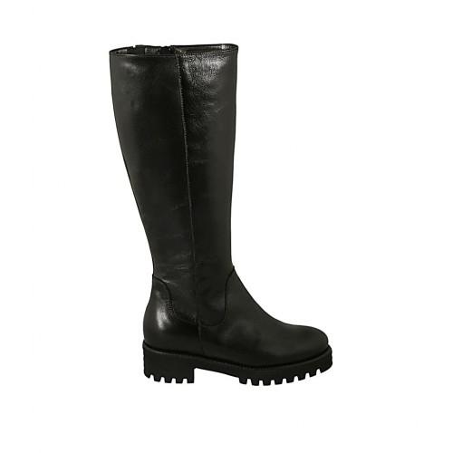 Bota para mujer con elastico, plantilla extraible y cremallera en piel negra tacon 4 - Tallas disponibles:  32, 42, 43