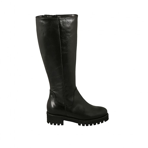 Woman's boot with elastic band, removable insole and zipper in black leather heel 4 - Available sizes:  32, 33, 34, 42, 43, 44