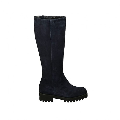 Woman's boot with elastic band, removable insole and zipper in blue suede heel 4 - Available sizes:  32, 33, 34, 42, 43, 44, 45