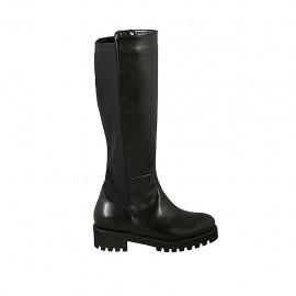 Botas para mujer con cremallera y plantilla extraible en piel y tejido elastico negro tacon 4 - Tallas disponibles:  43, 44