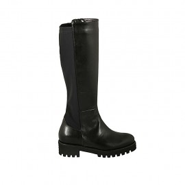 Woman's boot with zipper and removable insole in black leather and elastic fabric heel 4 - Available sizes:  43, 44
