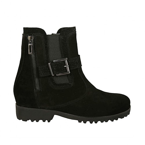 Woman's ankle boot with zippers, buckle and elastic in black and glittered suede heel 3 - Available sizes:  33, 34, 43, 44, 45