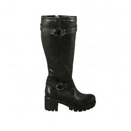 Botas para mujer con cremallera, elastico y hebillas en piel negra tacon 6 - Tallas disponibles:  32, 33, 34, 42, 43