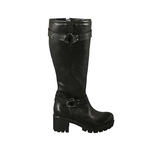 Woman's boot with zipper, elastic band and buckles in black leather heel 6 - Available sizes:  32, 33, 34, 43
