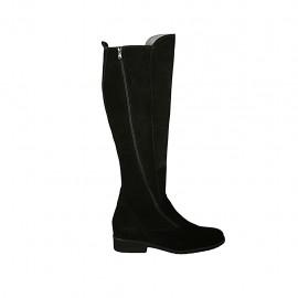 Bota para mujer con cremalleras en gamuza negra tacon 3 - Tallas disponibles:  43, 46