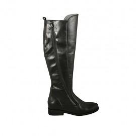 Botas para mujer con cremalleras en piel negra tacon 3 - Tallas disponibles:  43