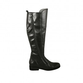Woman's boot with zippers in black leather heel 3 - Available sizes:  43