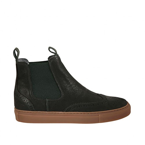 Men's ankle boot in black leather with green elastic bands and Brogue wingtip - Available sizes:  37, 38, 47, 49, 50