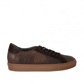 Zapato con cordones para hombre en piel y gamuza marron - Tallas disponibles:  37, 38, 47, 48, 49