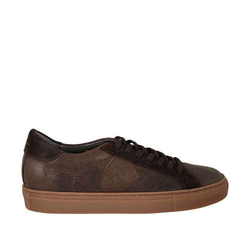Men's laced casual shoe in brown leather and suede - Available sizes:  37, 38, 47, 48, 49