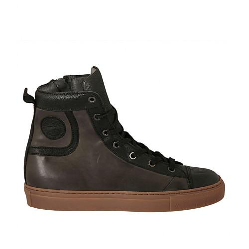 Zapato alto al tobillo con cremallera y cordones para hombre en piel negra y gris - Tallas disponibles:  37, 47, 48