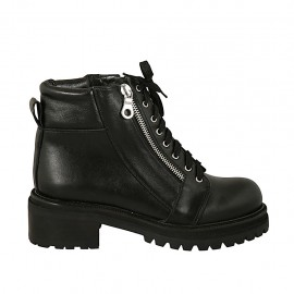 Woman's laced boot with zippers in black leather heel 5 - Available sizes:  33, 34, 42, 43, 44, 45, 46, 47