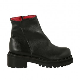 Woman's ankle boot with zipper in black leather heel 5 - Available sizes:  33, 34, 42, 43, 44, 45, 46, 47