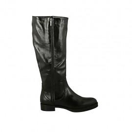 Damenstiefel aus schwarzem Leder mit Rei?verschlüssen Absatz 3 - Verfügbare Größen:  44