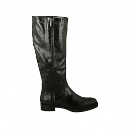 Woman's boot in black leather with zippers heel 3 - Available sizes:  44, 45