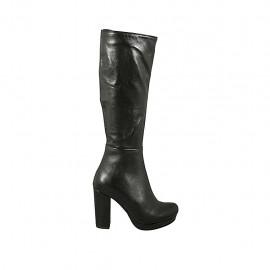 Bota para mujer con cremallera y plataforma en piel negra tacon 9 - Tallas disponibles:  32, 33