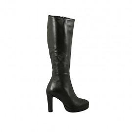 Bota para mujer con plataforma y cremallera en piel negra tacon 9 - Tallas disponibles:  32, 43