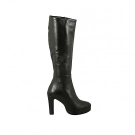 Woman's boot in black leather with platform and zipper heel 9 - Available sizes:  32, 43