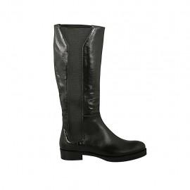 Bottes pour femmes avec élastiques en cuir noir talon 3 - Pointures disponibles:  42, 43, 44, 45, 46, 47
