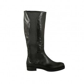 Woman's boot with elastic bands in black leather heel 3 - Available sizes:  43, 45