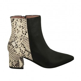 Woman's pointy ankle boot with zipper in black and black and beige printed leather heel 5 - Available sizes:  32, 33, 43