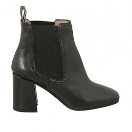 Woman's ankle boot in black leather with elastic bands heel 7 - Available sizes:  33, 34, 42, 43, 44, 45