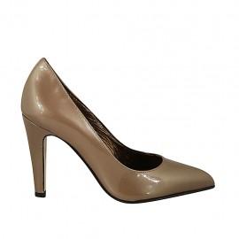 Zapato de salon para mujer en charol beis tacon 9 - Tallas disponibles:  32, 33, 34, 42, 43