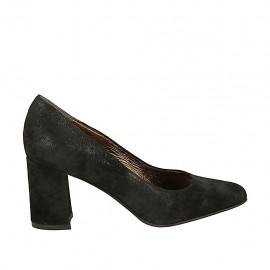 Zapato de salon para mujer en gamuza negra tacon cuadrado 7 - Tallas disponibles:  33, 34, 42, 43, 45
