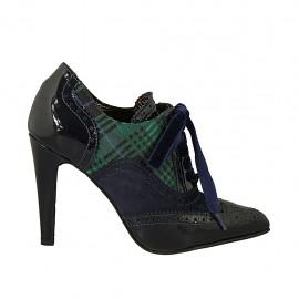 Chaussure à la cheville pour femmes avec lacets en velours en daim et cuir verni bleu et tissu écossais bleu vert talon 9 - Pointures disponibles:  32, 33, 34, 42, 43, 44, 45