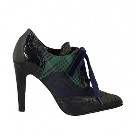 Woman's highfronted pointy shoe with velvet laces in blue suede and patent leather and blue green plaid fabric heel 9 - Available sizes:  32, 33, 34, 42, 43, 44