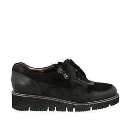 Chaussure pour femmes à lacets et fermetures éclair en cuir et daim noir talon compensé 3 - Pointures disponibles:  32, 33, 34, 42, 43, 44, 45