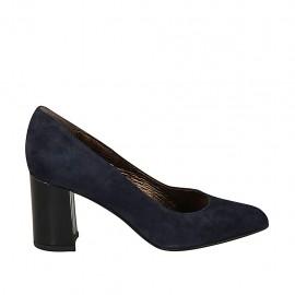 Zapato de salon a punta para mujer en daim azul tacon 7 - Tallas disponibles:  34, 43