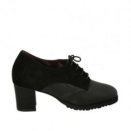 Schnürschuh für Damen mit herausnehmbarer Innensohle aus schwarzem Leder und Wildleder Absatz 5 - Verfügbare Größen:  32, 33, 34, 42, 43, 44, 45