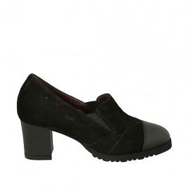 Chaussure fermée pour femmes avec elastiques et semelle amovible en daim et cuir noir talon 5 - Pointures disponibles:  31, 33, 34, 43, 44, 45