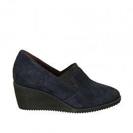 Zapato para mujer con elastico y plantilla extraible en gamuza azul cuña 5 - Tallas disponibles:  43, 44