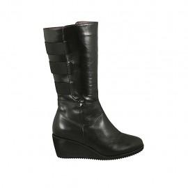 Demi-bottes pour femmes avec fermeture éclair, elastiques et semelle amovible en cuir noir talon compensé 5 - Pointures disponibles:  31, 32, 34, 42, 43, 44, 45