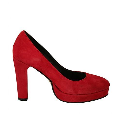 Zapato de salon para mujer con plataforma en gamuza roja tacon 9 - Tallas disponibles:  34